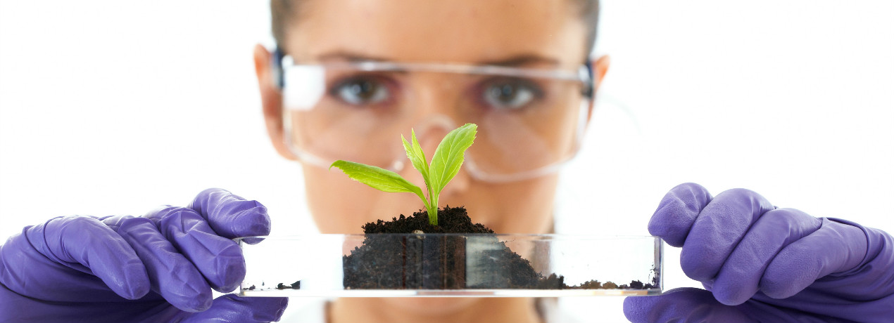 Lady With Plant In Petri Dish Crop2